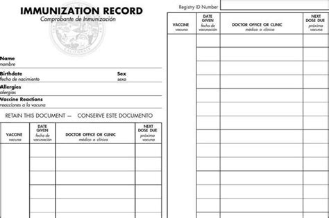 Immunization Card Template by 25 Images Of California Immunization Record Card Template