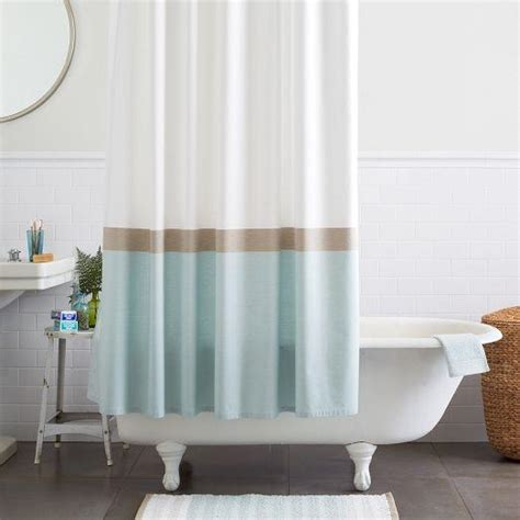 horizon stripe shower curtain clearwater west elm
