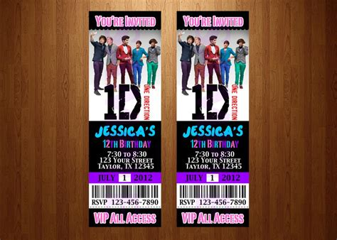 printable birthday cards one direction fancy one direction birthday invitation ticket card