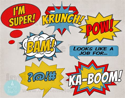 printable photo booth props superhero comic party printable photo props invite me to party