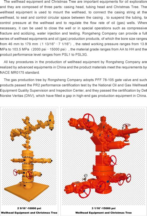 wellhead equipment and christmas tree rongsheng