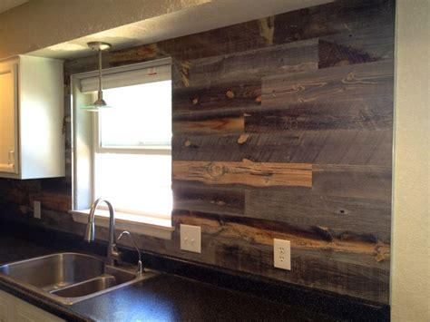 Wood Kitchen Backsplash Reclaimed Weathered Wood