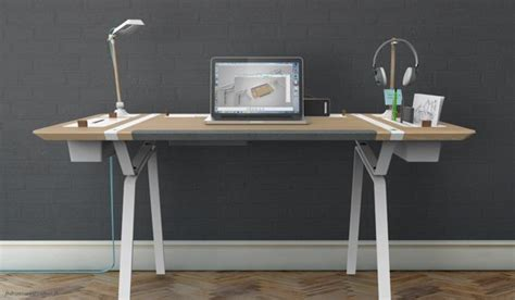 modern desk  features    objects organized