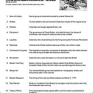 Revolutionary War Printable Wordsearch