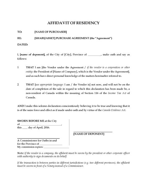 canada affidavit of residency sale of business legal