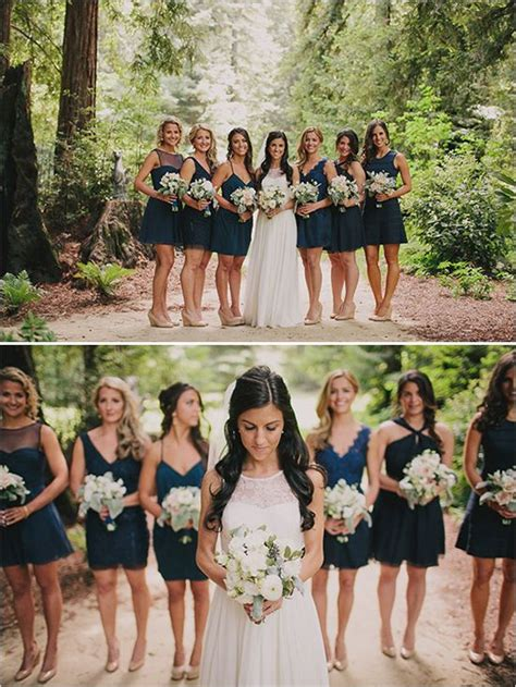 Navy Black Flower Mix peppy rustic wedding navy blue bridesmaids navy blue