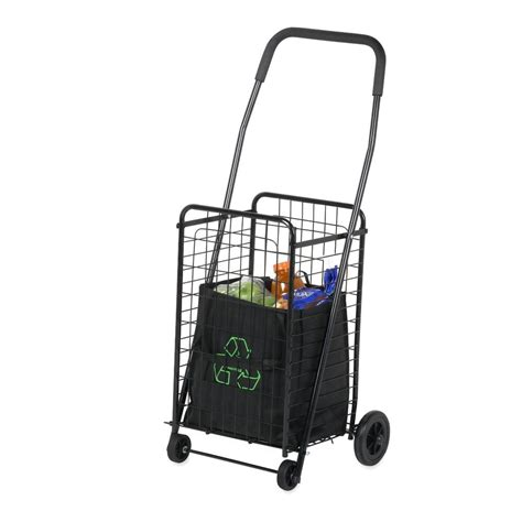 collapsible laundry on wheels shopping basket cart metal folding rolling medium grocery