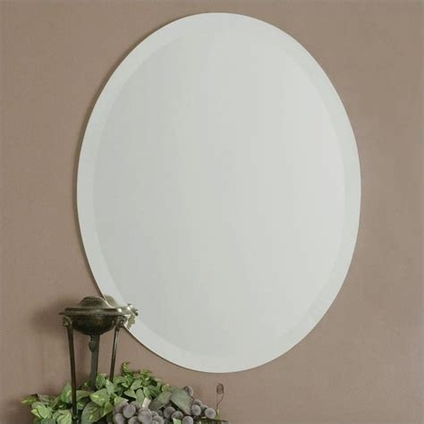 Frameless Beveled Vanity Mirror uttermost frameless beveled vanity oval mirror 19580 b
