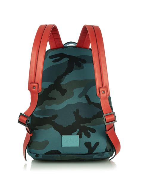 Camo Print Backpack lyst valentino camo print backpack in green for