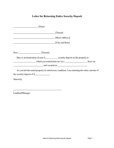 Agreement Letter For Refund Best Photos Of Letter Security Deposit Form Landlord Security Deposit Return Letter Sle