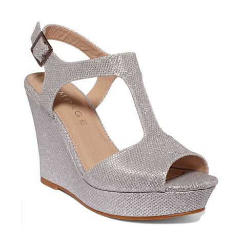 rage candelas t platform wedge sandals in silver