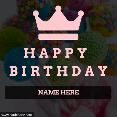 write   girly happy birthday queen crown greeting card card codez   greeting cards