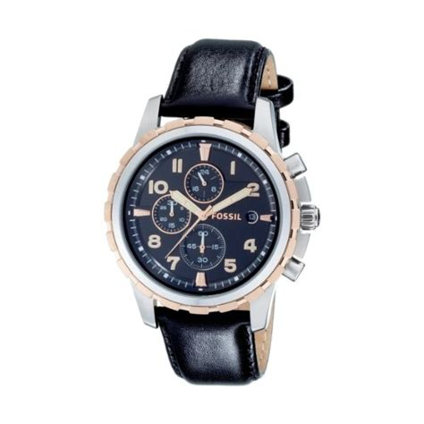 Fossil M1157 Rosegold Black Leather fossil mens fs4545 with black multi stainless steel and gold with a black