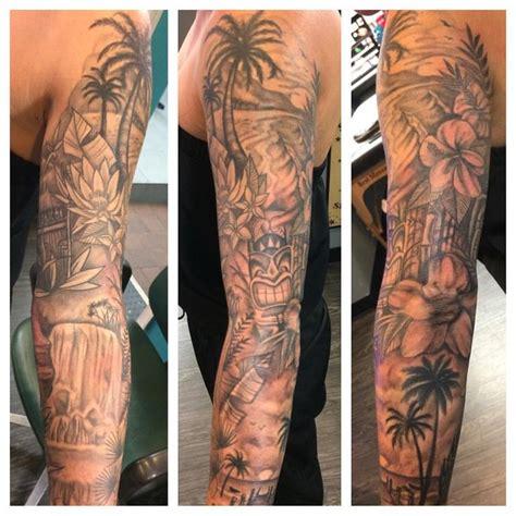 tropical quarter sleeve tattoo tiki tattoo black www pixshark com images galleries