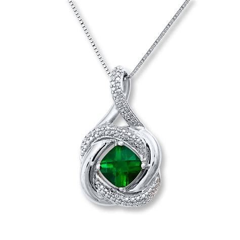 lab created emerald accents sterling silver