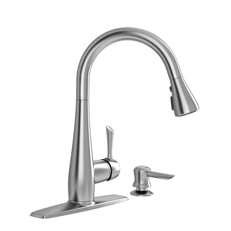 kitchen faucets stainless steel american standard olvera stainless steel one handle pull down kitchen faucet with soap dispenser