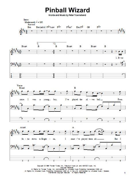 wizard music pinball wizard bass guitar tab by the who bass guitar tab