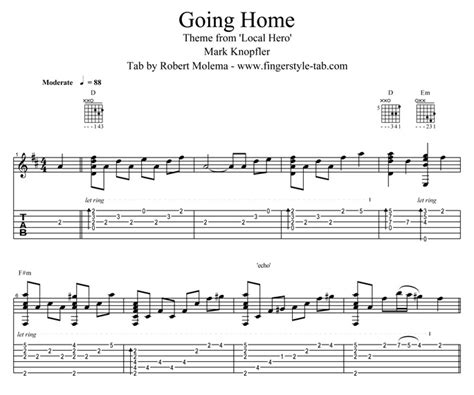 quality tab for the song going home from knopfler