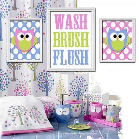 owl bathroom decor set owl hoot theme bathroom wash brush flush from trm design
