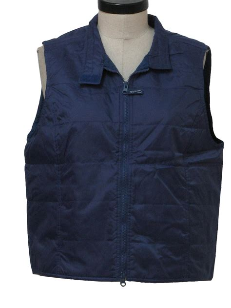 Thin Quilted Vest by Vintage 1980 S Vest 80s Unisex Navy Blue