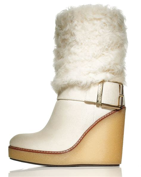 moncler marguerite fur cuff wedge boot in lyst