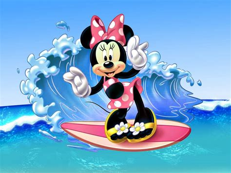 minnie mouse surfing sea waves images disney wallpaper hd  wallpaperscom