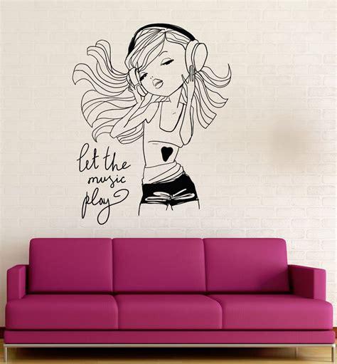 wall stickers teenage bedrooms teen girl music headphones room decoration wall stickers