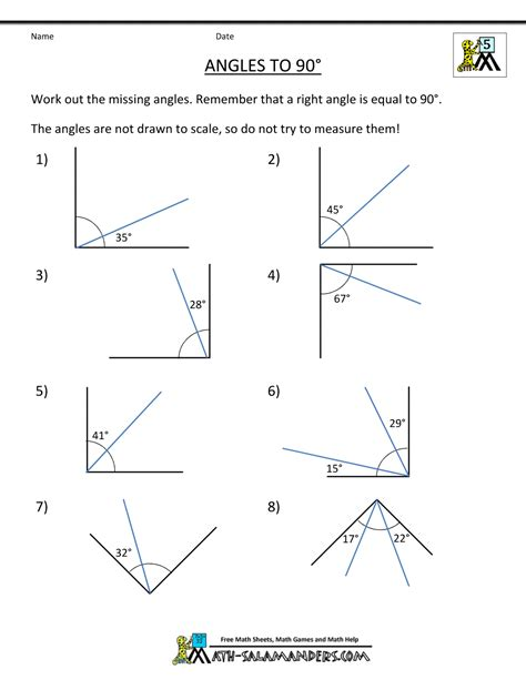 Angles Worksheet by 5th Grade Geometry