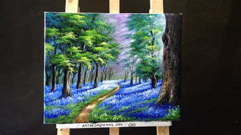 acrylic paint translate bluebells in the new forest acrylic lessons