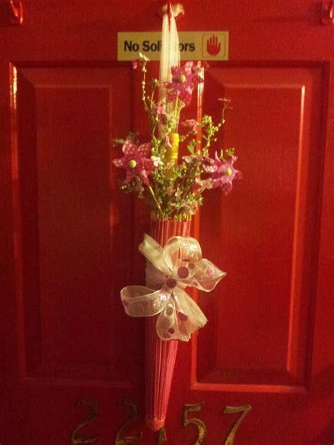 Umbrella Door Decoration by Pink Umbrella Door Decor Created It