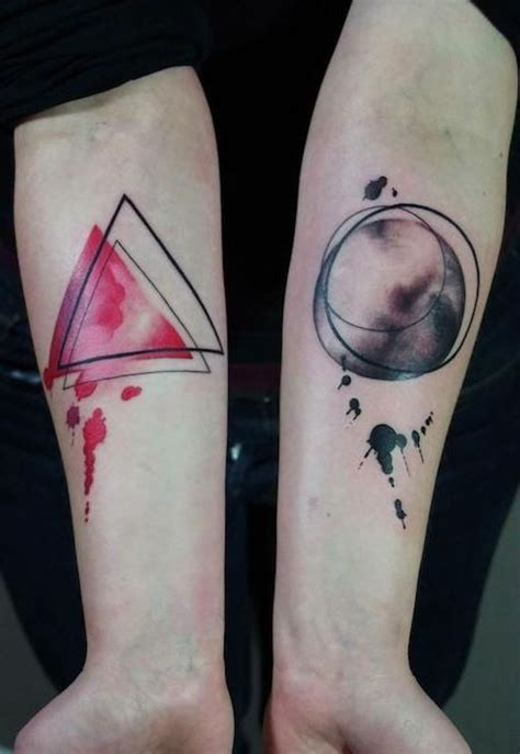 watercolor geometric forearm tattoo tattooimages biz