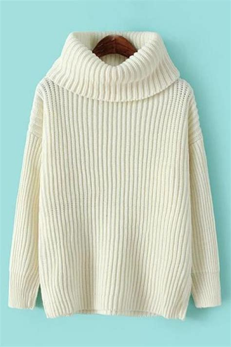 Plain Turtle Neck Sweater plain turtle neck sleeve pullover sweater