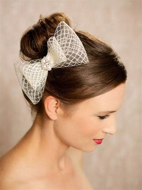 chic fashion hair styling clip ivory bow bridal hair accessories birdcage bow