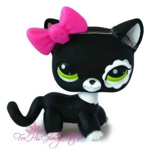 lps cats and dogs littlest pet shop 2249 lps black white tabby cat flower green blythe lps