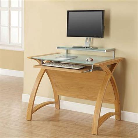 Cohen Curve Computer Desk Small In Milk White Glass Top Small Oak Computer Desk