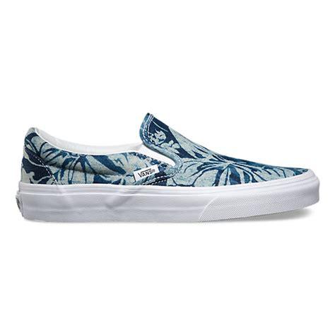 blue pattern vans indigo tropical slip on shop shoes at vans