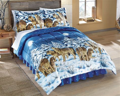 wolf wolves bed comforter set pillow shams bedskirt twin