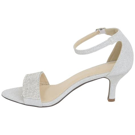 Wedding Shoes With Ankle by New Mid Heel Glitter Buckle Ankle Bridal