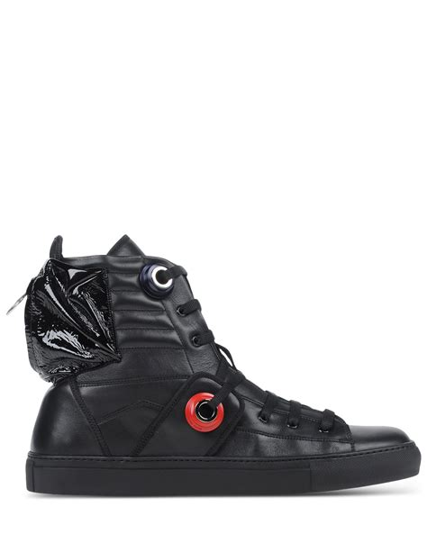 raf simons high top sneakers in black for lyst