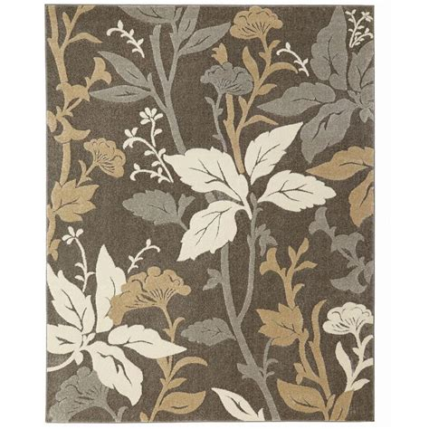 area rug black white grey pattern rugs floral decor floor home decorators collection blooming flowers gray 8 ft x