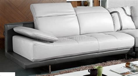 White And Grey Leather Sofa White Grey Top Grain Leather Modern Sectional Sofa