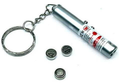 battery powered laser light 2 in 1 5mw 650nm laser pointer keychain with led
