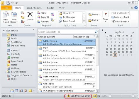 steps to fix send receive error in ms outlook or outlook