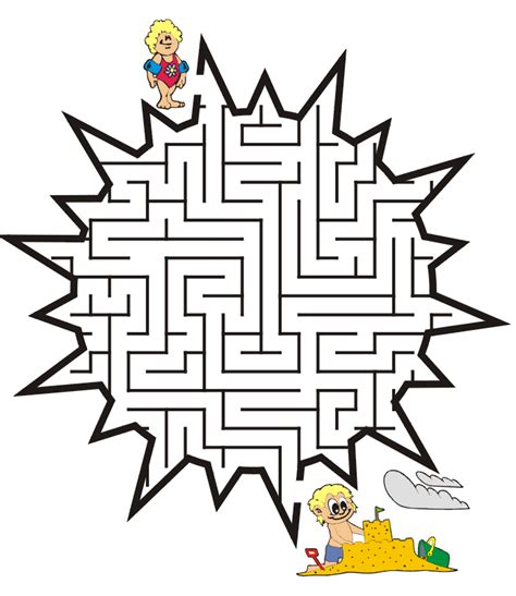 Printable Beach Maze | summer maze free printable sun maze mazes pinterest