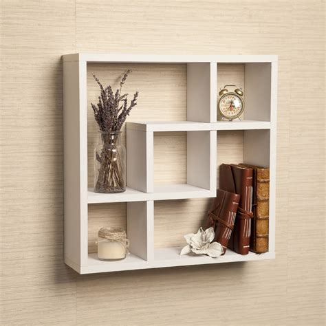 White Square Wall Shelves Geometric Square Wall Shelf With Five Openings White