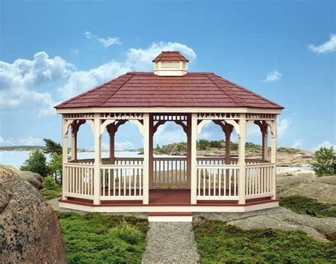pvc gazebo vinyl single roof 8 sided oval gazebos gazebos by style
