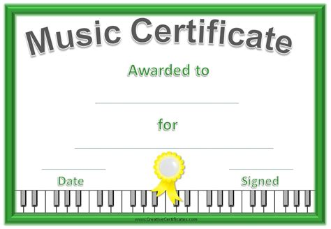 templates for music certificates music award certificate templates free images