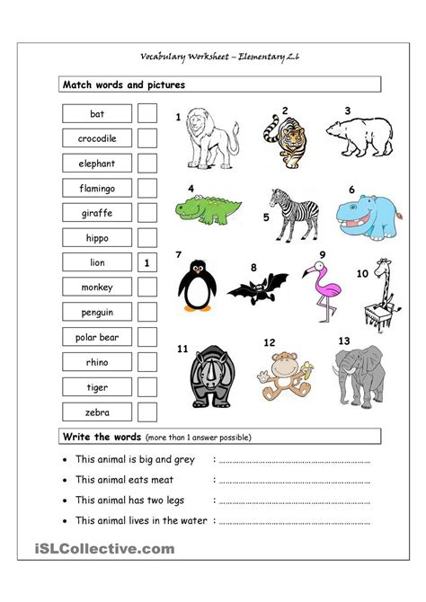 vocabulary matching worksheet elementary 2 6
