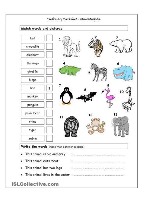 esl printable animal worksheets vocabulary matching worksheet elementary 2 6 wild