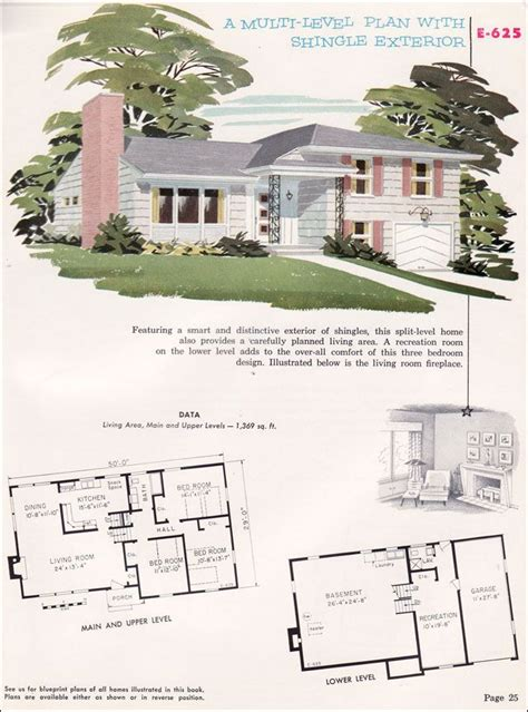 1950s floor plans 1950s home designs split level cottage style house plans